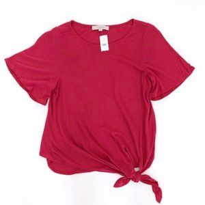 LOFT Women's Pink Side Tie Shirt Top Blouse XS NWT